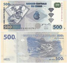 Congo 500 Francs 2002 P-96 UNC Uncirculated Banknote - Diamond + FREE NOTE