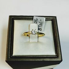 14K Solid Yellow Gold Round CZ Cubic Zirconia Solitaire Engagement Ring 4mm Size