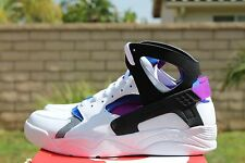 NIKE AIR FLIGHT HUARACHE PRM QS SZ 8 WHITE BLACK BLUE BOLD BERRY 686203 100