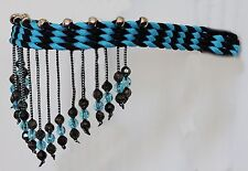 *NEW* Hand Braided Beaded Headstall Browband, Horse Tack, TURQUOISE & BLACK