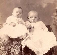 cabinet card sweet babies Sunday dress christening?glass milk baby bottle w hose