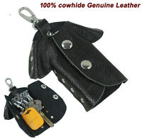 Men Women 100% Genuine Leather Key case Key Holder Wallet ID Key Chain Pouch Bag