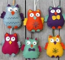 Felt Owl Decoration Craft Kit - Make Your Own x 6 Owls - Wool Felt Sewing - Gift
