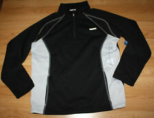 NWT Mens REEBOK Black Gray Fleece 1/4 Zip Polyester Jacket Coat Size L Large