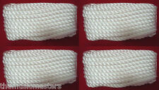 """(4) White Twisted 3 Strand 3/8"""" x 10' ft HQ Boat Marine DOCK LINES Mooring Ropes"""