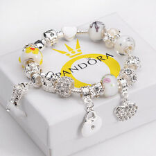 Ladies Fashion Xmas Jewelry Vintage 925 Sterling Silver Charm Bracelet Bangle