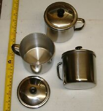 2 BRAND NEW STAINLESS STEEL CUPS W/LIDS,CAMPING EQUIPMENT, WHOLESALE