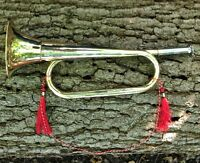 NEW SOLID BRASS HAND MADE BUGLE MILITARY BAND METAL HORN HUNTING ARMY RRP £38.99