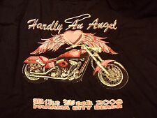 2008 Panama City Bike Week HARDLY an ANGEL Biker Motorcycle Chick Sz M Shirt Top