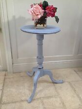 Small Antique Hand Painted Round Pedestal Table Occasional Side Hall Bedside