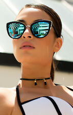NEW QUAY My Girl Black/Blue Mirror Sunglasses ㅣ