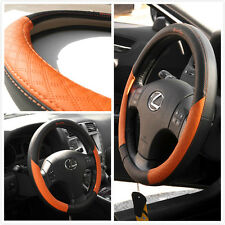 m size orange black pvc leather steering wheel cover rare find 58011B