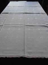 Tischdecke Baumwoll-Damast rundum kleine Spitze 160x130 mattrosa CB703