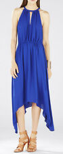 "$198 BCBG ROYAL BLUE ""KEELIE"" ASYMMETRICAL KEYHOLE FRONT HALTER DRESS NWT M"