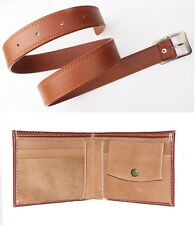 Combo of Brown Wallet and Men's Faux Leather Belt Tan Color with Free shipping