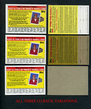 "1988 TOPPS ""BIG"" INSERT CARD COLLECTOR'S EDITION ALL 3 BACK ERROR VARIATIONS"