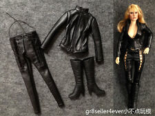 "1/6 scale Black Widow Killer Leather Jumpsuit for 12"" Catwoman Kumik Female Body"
