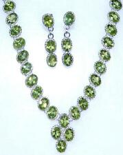 Sterling Silver SET Peridot Necklace Earrings, Genuine Gemstone 925 Jewelry Gift