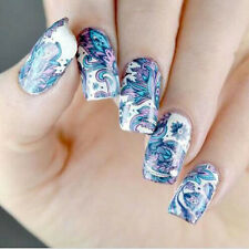 2pc Pink/Blue FLOWER NAIL ART WATER TRANSFER STICKERS DECAL TIPS 3D DECORATION