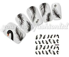 NAIL Art Water Trasferimenti Adesivi decalcomanie BLACK SWAN stile (C38)