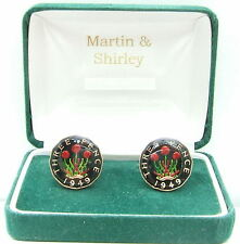 1949 Threepence cufflinks  real coins in Black & Gold & Colours