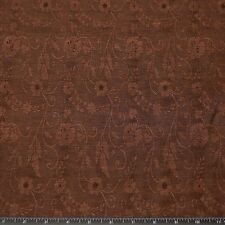 """Brown Silk & Linen Flax Jacquard Floral Fabric, 54"""" Wide, By The Yard (JD-347N)"""