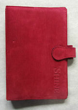 NEW LONDON ORGANISER COMPANY RED REAL SUEDE LEATHER STANDARD PERSONAL FILE DIARY