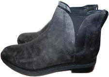 ALEXANDER WANG Dewi Distressed Leather Ankle Boot Flat Bootie Shoes 37-7 Charcoa