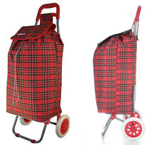 Hoppa Folding Lightweight Shopper Trolley Shopping Bag on Wheels Tartan Red NEW