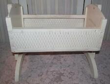 Vintage Wooden Wicker Baby Doll Bear Bed Rocker