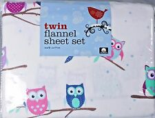 Twin Flannel Girls Hooty Owl Sheet Set 3pc 100% Cotton Soft USPS Priority Fast