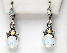 KIRKS FOLLY FAIRY ESSENCE WHITE OPAL LEVERBACK EARRINGS silvertone