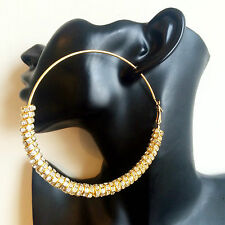 90mm Extra large Gold Crystal Rhinestone Rondelle Spacer Beads hoop earrings