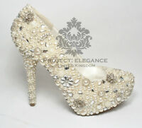Womens Ladies Pearl Crystal High Heel Court Shoes Sizes 3-8 Ivory Wedding Bridal