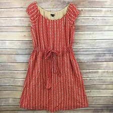 Theory Womens Dress Red Beige Polka Dot Cotton Drawstring Lined Vivalla K1 Sz M