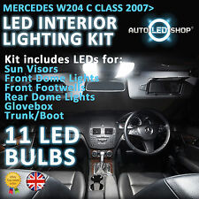 MERCEDES BENZ CLASSE C W204 SMD LED INTERIOR Full Kit Set Lampadine Xeno Bianco
