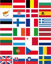28 stickers drapeaux d' Europe 28 pays 3x2 cm sans le nom. vinyle autocollant.
