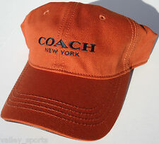 NEW! RARE Orange Genuine COACH NEW YORK Men's Leather Brim, Cotton Ball Cap