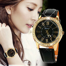 Luxury Bling Gold Crystal Women Stainless Steel Leather Strap Quartz Wrist Watch