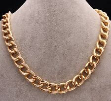 Classic 18k Yellow Gold Filled Curk Link Chain Necklace Wedding Party N-A433