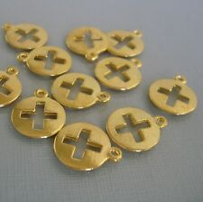 Cross Round Gold Plated  Pendant Charm   - 10pcs.