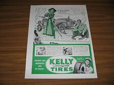 1947 Print Ad Kelly Springfield Tires Antique Car Gets Flat Tire