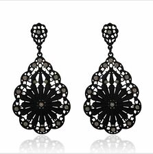 "LARGE 3"" BLACK METAL CUT-OUT TEAR DROP EARRINGS WITH SMALL DIAMANTE CRYSTALS"