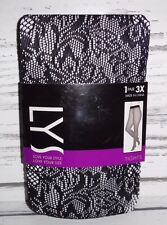 New Women's LYS Plus Size Tights Black Blossom Net Size 3X
