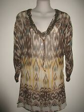 JOIE NWOT Tribal Print 100% Silk Tunic/Cover-Up,  Beige, Brown, Blue, Beaded,  S
