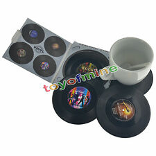 4pcs Round Vinyl Coaster Groovy Record Cup Drinks Holder Mat Tableware Placemat