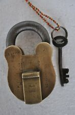 Old Brass 1920's Honour Brand 10 Levers Solid Heavy Handcrafted Padlock