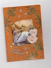 3D Glückwunschkarte zur Hochzeit,Grußkarte,gold, Schwan mit Rosen