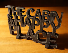 CABIN IS MY HAPPY PLACE Wood Cut Words Rustic Lodge Shelf Home Decor Sign NEW