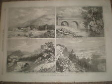 Views on Leatherhead and Dorking Railway 1867 old prints